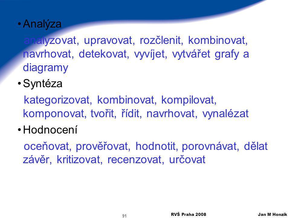 RVŠ Praha 2008 Jan M Honzík 91 Analýza analyzovat, upravovat, rozčlenit, kombinovat, navrhovat, detekovat, vyvíjet, vytvářet grafy a diagramy Syntéza