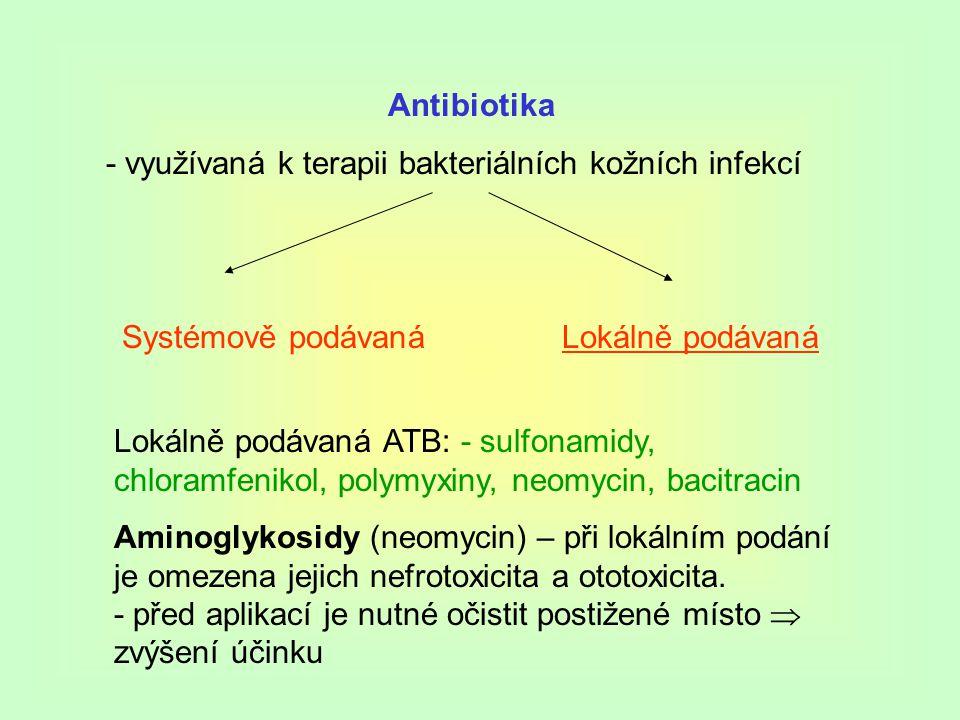 Antibiotika - využívaná k terapii bakteriálních kožních infekcí Systémově podávaná Lokálně podávaná ATB: - sulfonamidy, chloramfenikol, polymyxiny, neomycin, bacitracin Aminoglykosidy (neomycin) – při lokálním podání je omezena jejich nefrotoxicita a ototoxicita.