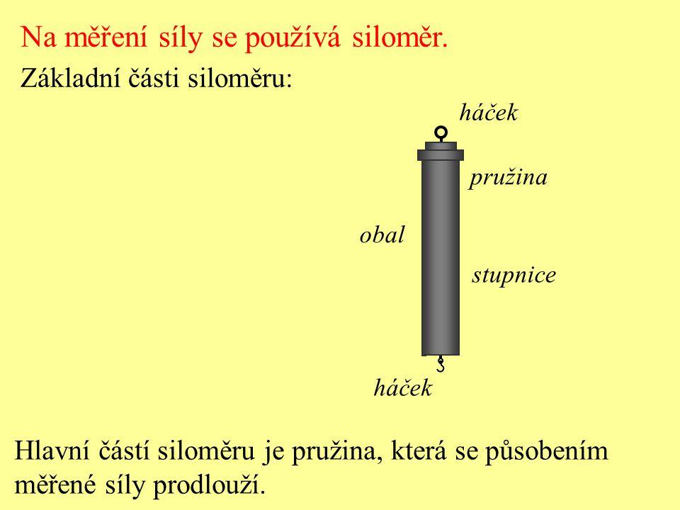 Měření síly pružinovým siloměrem m = 0,2 kg Na měření síly se používá siloměr.