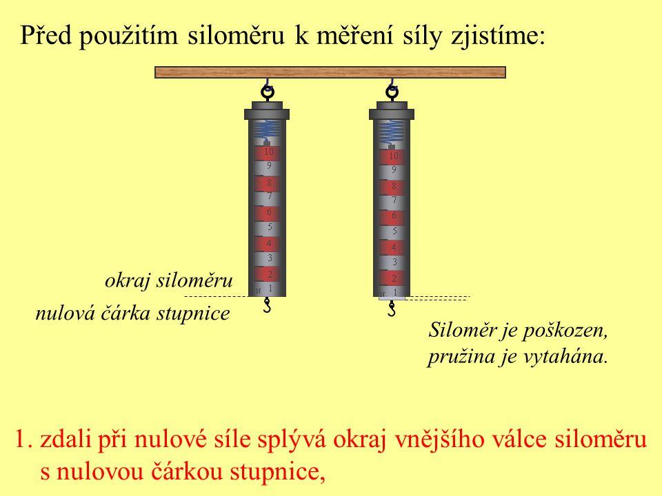 1. zdali při nulové síle splývá okraj vnějšího válce siloměru s nulovou čárkou stupnice, Před použitím siloměru k měření síly zjistíme: okraj siloměru