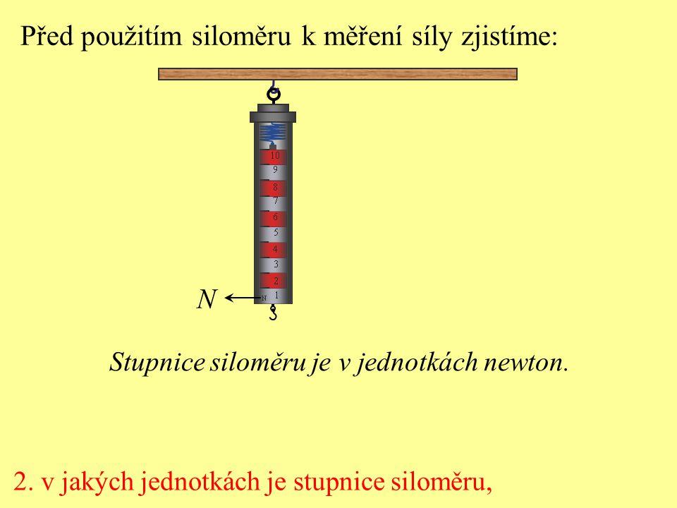 2. v jakých jednotkách je stupnice siloměru, Před použitím siloměru k měření síly zjistíme: N Stupnice siloměru je v jednotkách newton.
