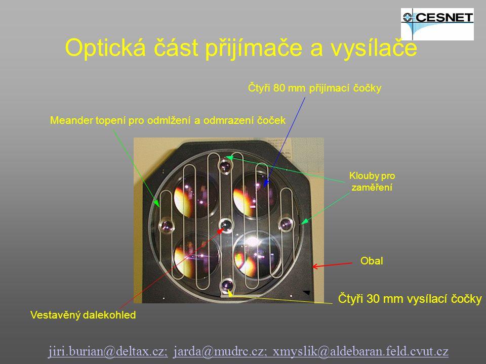 jiri.burian@deltax.cz;jiri.burian@deltax.cz; jarda@mudrc.cz; xmyslik@aldebaran.feld.cvut.czjarda@mudrc.cz; xmyslik@aldebaran.feld.cvut.cz Optická část přijímače a vysílače Čtyři 80 mm přijímací čočky Čtyři 30 mm vysílací čočky Meander topení pro odmlžení a odmrazení čoček Vestavěný dalekohled Klouby pro zaměření Obal