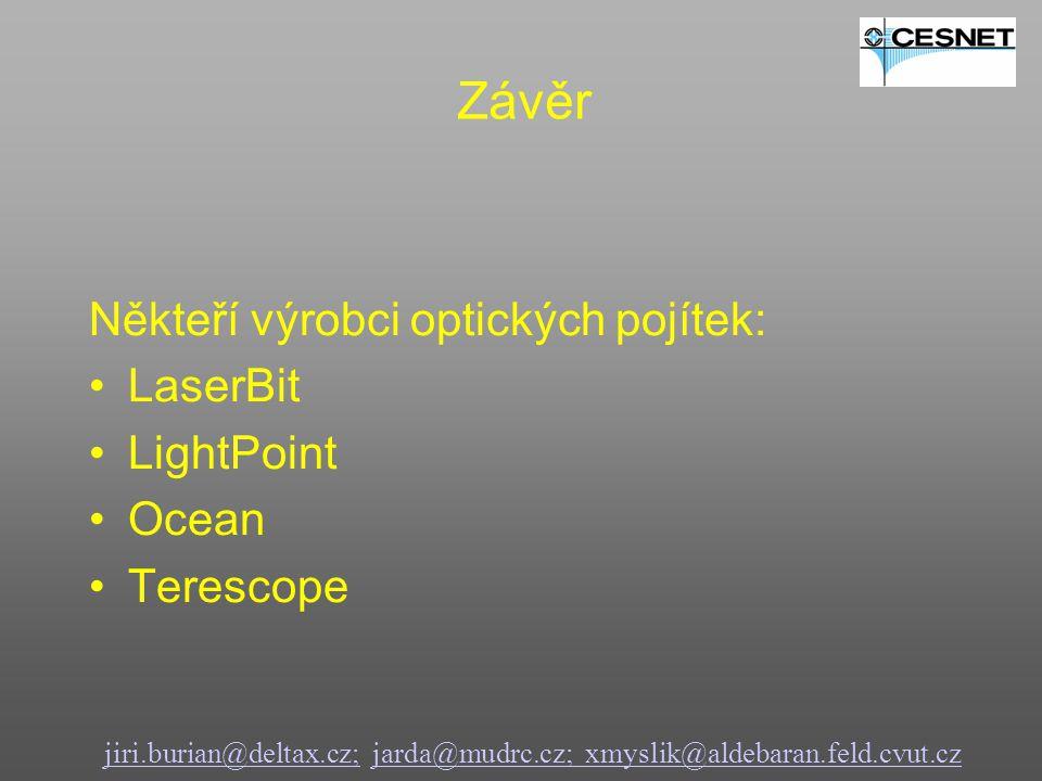 Někteří výrobci optických pojítek: LaserBit LightPoint Ocean Terescope jiri.burian@deltax.cz;jiri.burian@deltax.cz; jarda@mudrc.cz; xmyslik@aldebaran.feld.cvut.czjarda@mudrc.cz; xmyslik@aldebaran.feld.cvut.cz Závěr