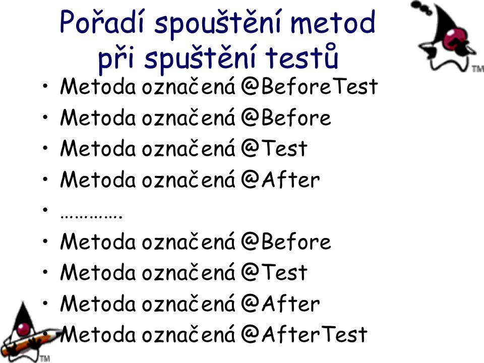Pořadí spouštění metod při spuštění testů Metoda označená @BeforeTest Metoda označená @Before Metoda označená @Test Metoda označená @After …………. Metod