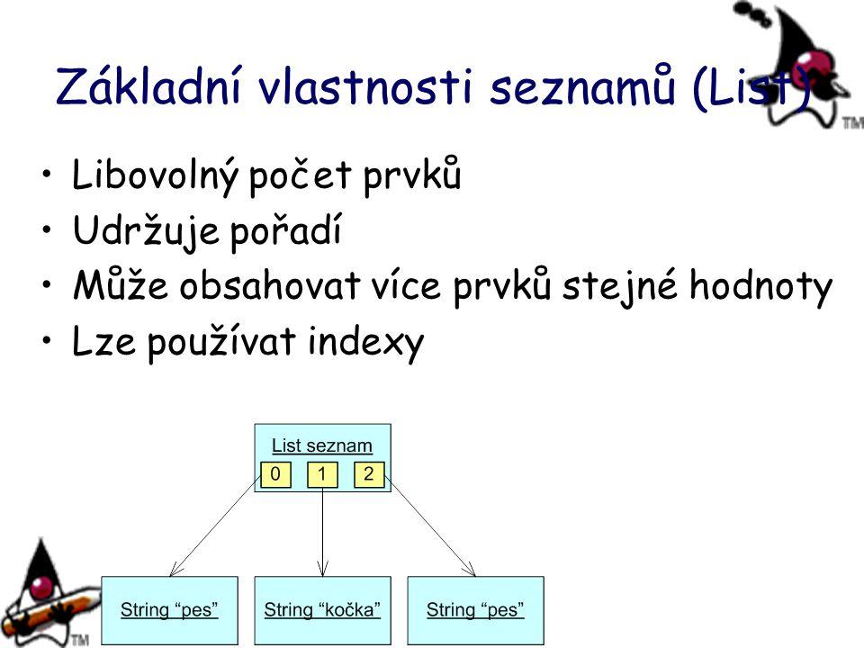 Základní vlastnosti seznamů (List) Libovolný počet prvků Udržuje pořadí Může obsahovat více prvků stejné hodnoty Lze používat indexy