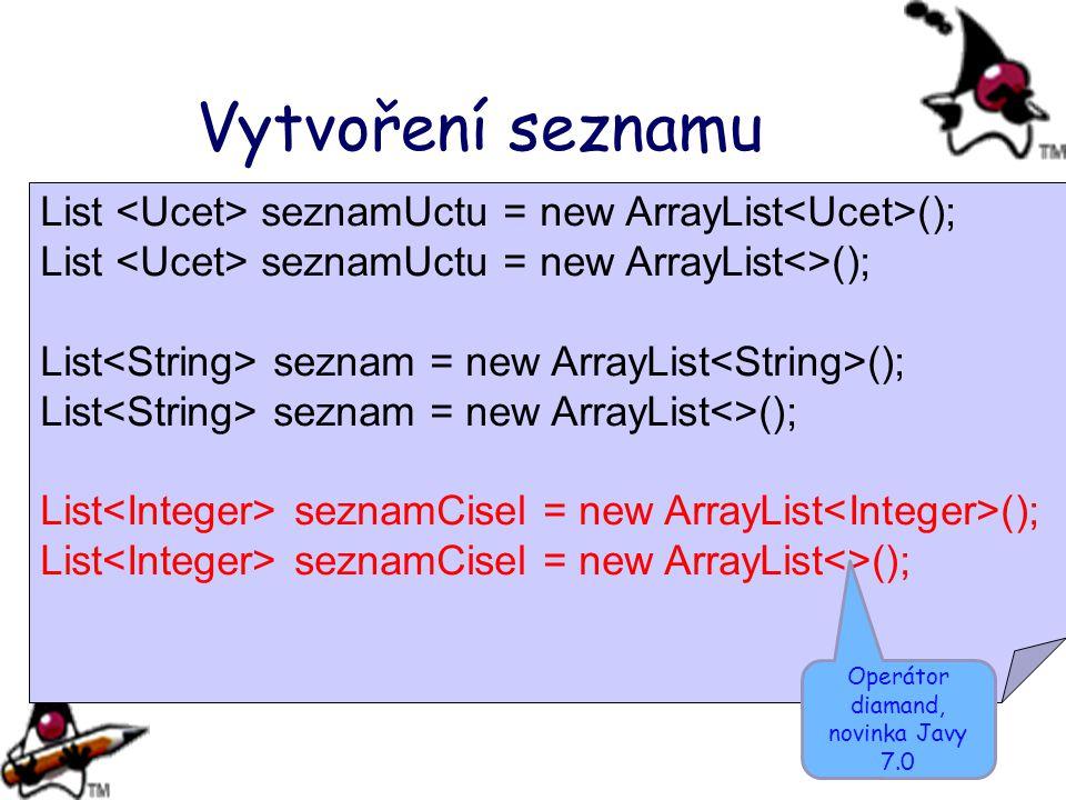 Vytvoření seznamu List seznamUctu = new ArrayList (); List seznamUctu = new ArrayList<>(); List seznam = new ArrayList (); List seznam = new ArrayList