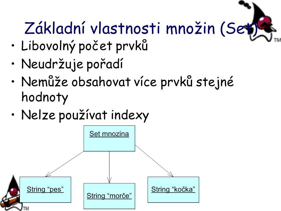 Základní vlastnosti množin (Set) Libovolný počet prvků Neudržuje pořadí Nemůže obsahovat více prvků stejné hodnoty Nelze používat indexy