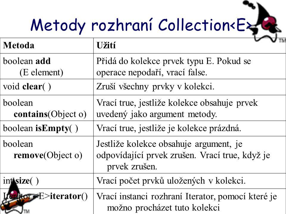 Metody rozhraní Collection MetodaUžití boolean add (E element) Přidá do kolekce prvek typu E. Pokud se operace nepodaří, vrací false. void clear( )Zru