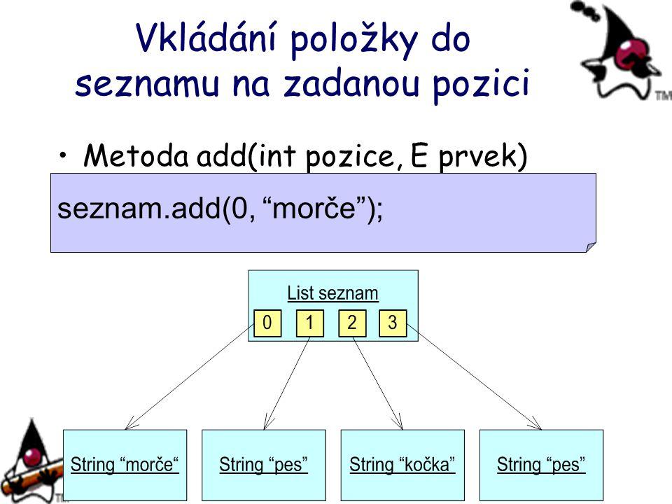 """Vkládání položky do seznamu na zadanou pozici Metoda add(int pozice, E prvek) seznam.add(0, """"morče"""");"""