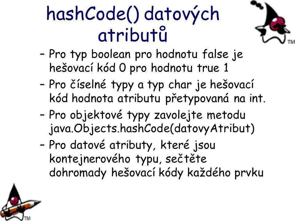 hashCode() datových atributů –Pro typ boolean pro hodnotu false je hešovací kód 0 pro hodnotu true 1 –Pro číselné typy a typ char je hešovací kód hodn