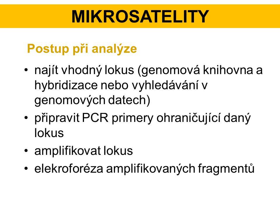 najít vhodný lokus (genomová knihovna a hybridizace nebo vyhledávání v genomových datech) připravit PCR primery ohraničující daný lokus amplifikovat l