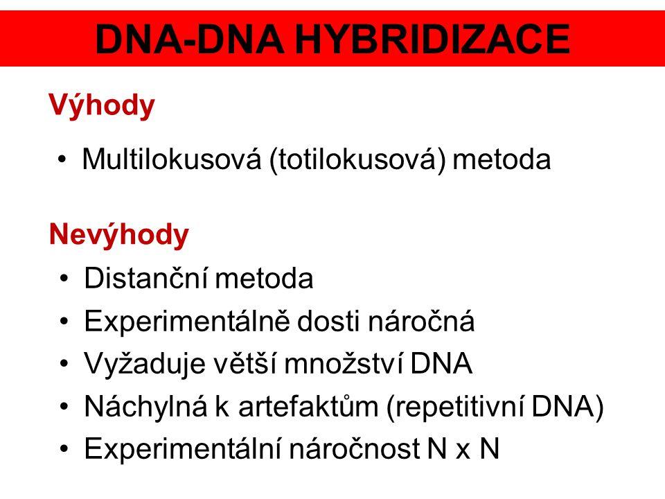 DNA-DNA HYBRIDIZACE Multilokusová (totilokusová) metoda Výhody Distanční metoda Experimentálně dosti náročná Vyžaduje větší množství DNA Náchylná k ar