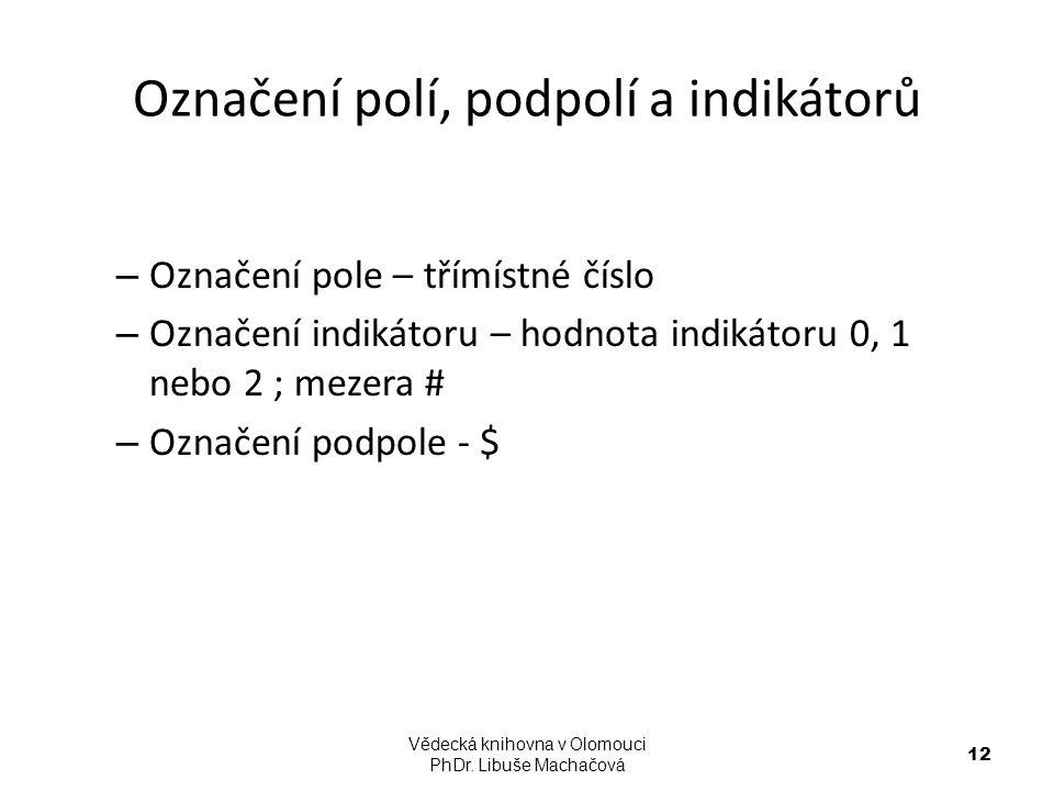 Označení polí, podpolí a indikátorů – Označení pole – třímístné číslo – Označení indikátoru – hodnota indikátoru 0, 1 nebo 2 ; mezera # – Označení pod