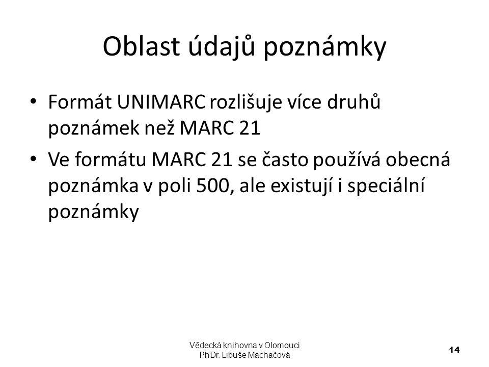 Oblast údajů poznámky Formát UNIMARC rozlišuje více druhů poznámek než MARC 21 Ve formátu MARC 21 se často používá obecná poznámka v poli 500, ale exi