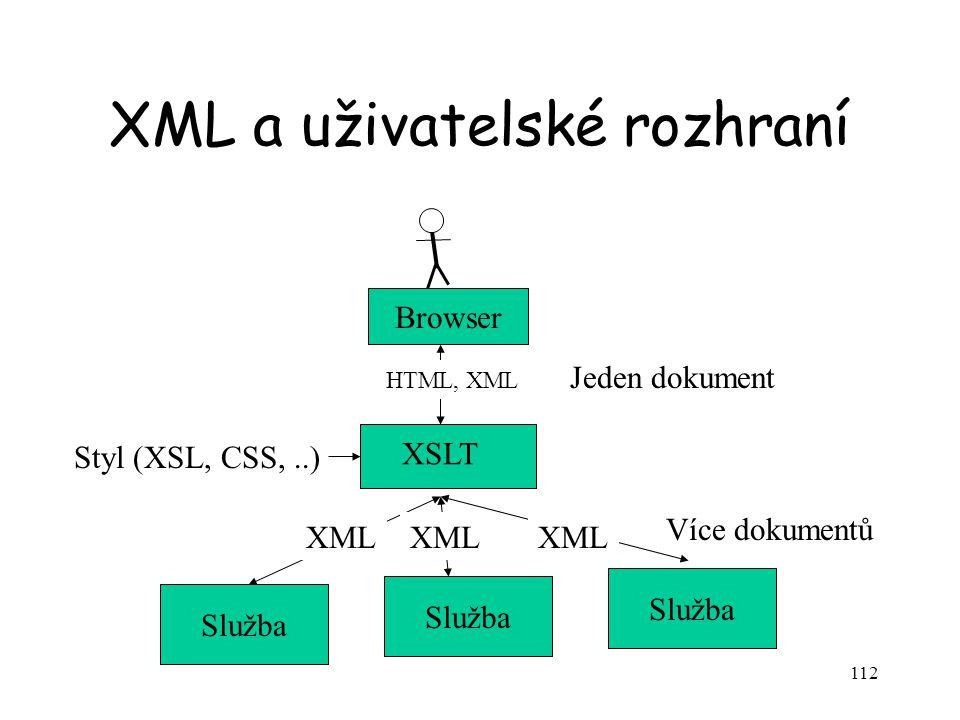 112 XML a uživatelské rozhraní Služba XSLT XML Styl (XSL, CSS,..) Browser HTML, XML Jeden dokument Více dokumentů