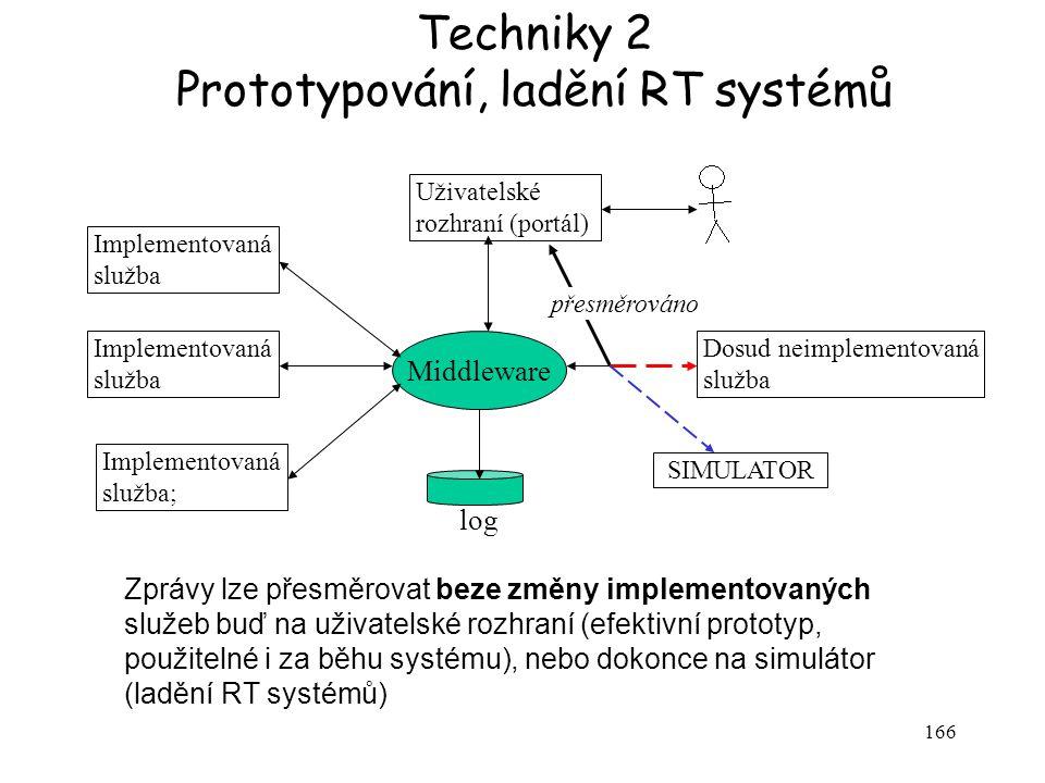 166 Implementovaná služba Implementovaná služba; Dosud neimplementovaná služba Uživatelské rozhraní (portál) Middleware log SIMULATOR přesměrováno Zprávy lze přesměrovat beze změny implementovaných služeb buď na uživatelské rozhraní (efektivní prototyp, použitelné i za běhu systému), nebo dokonce na simulátor (ladění RT systémů) Techniky 2 Prototypování, ladění RT systémů