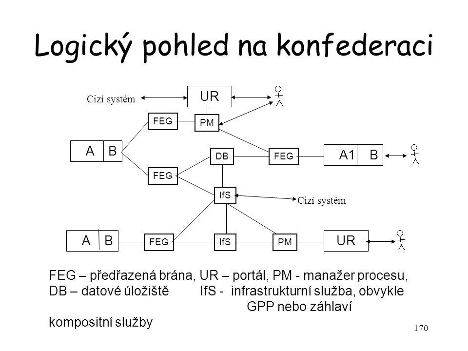 170 Logický pohled na konfederaci A B A1 B UR A B PM FEG IfS UR PM DBFEG Cizí systém FEG – předřazená brána, UR – portál, PM - manažer procesu, DB – datové úložiště IfS - infrastrukturní služba, obvykle GPP nebo záhlaví kompositní služby