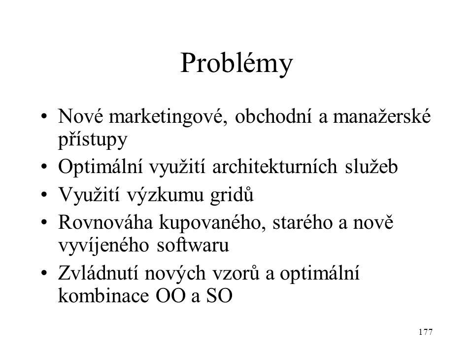 177 Problémy Nové marketingové, obchodní a manažerské přístupy Optimální využití architekturních služeb Využití výzkumu gridů Rovnováha kupovaného, starého a nově vyvíjeného softwaru Zvládnutí nových vzorů a optimální kombinace OO a SO