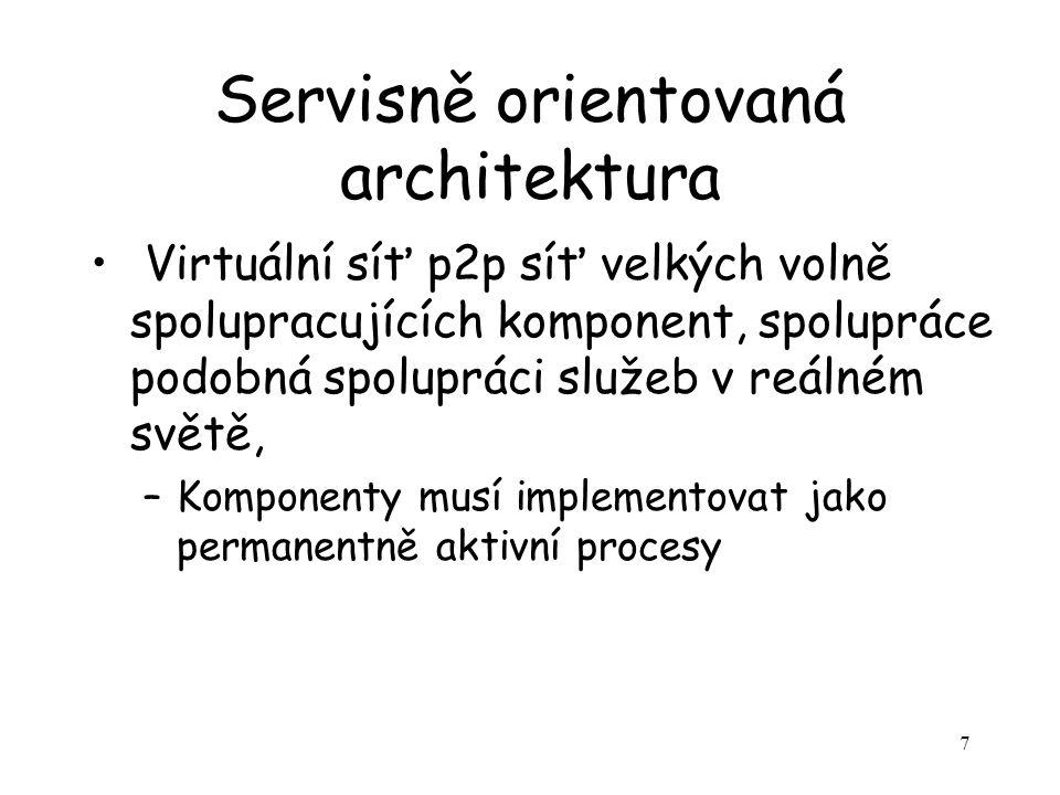 28 Služby typické pro SOA Služby se mohou se vzájemně znát (konfederace) –Pak odpadá problém viditelnosti, vyhledávání a zčásti i popisu Může existovat více nevyřízených požadavků, chová se jako stále aktivní proces  komunikace je p2p charakteru a po stránce funkční implementuje asynchronní protokol Požadavky spíše deklarativní než procedurální Slabý vliv kontextu služby Kritérium: Chová se podobně jako běžné služby hromadné obsluhy reálného světa