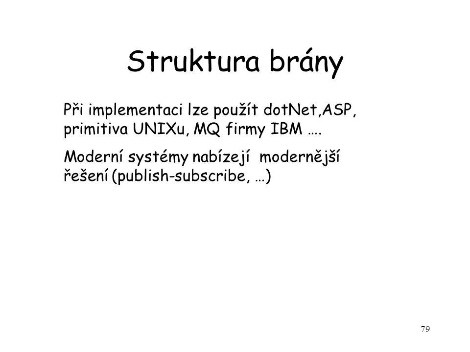 79 Struktura brány Při implementaci lze použít dotNet,ASP, primitiva UNIXu, MQ firmy IBM ….