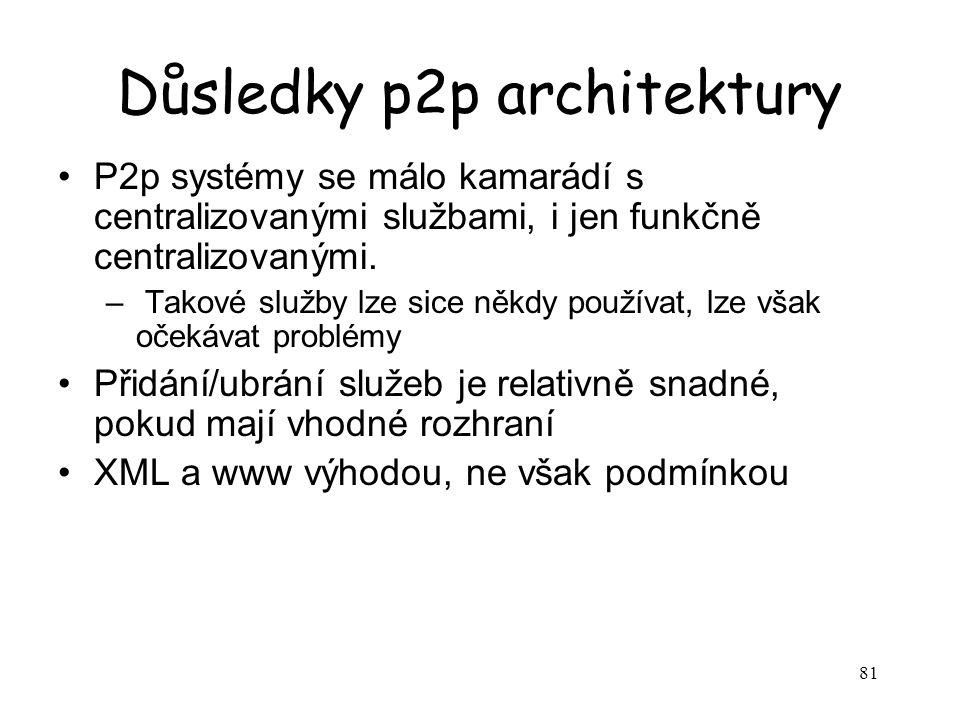 81 Důsledky p2p architektury P2p systémy se málo kamarádí s centralizovanými službami, i jen funkčně centralizovanými.