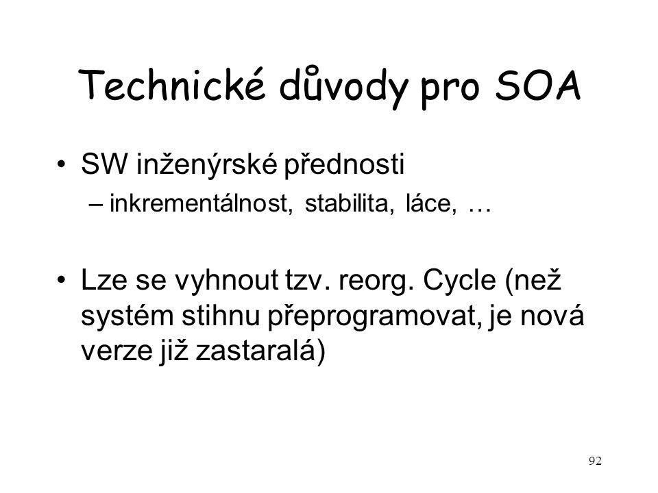 92 Technické důvody pro SOA SW inženýrské přednosti –inkrementálnost, stabilita, láce, … Lze se vyhnout tzv.