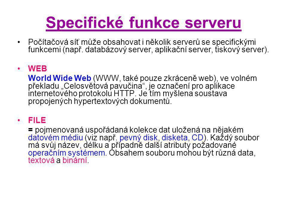 Specifické funkce serveru Počítačová síť může obsahovat i několik serverů se specifickými funkcemi (např.