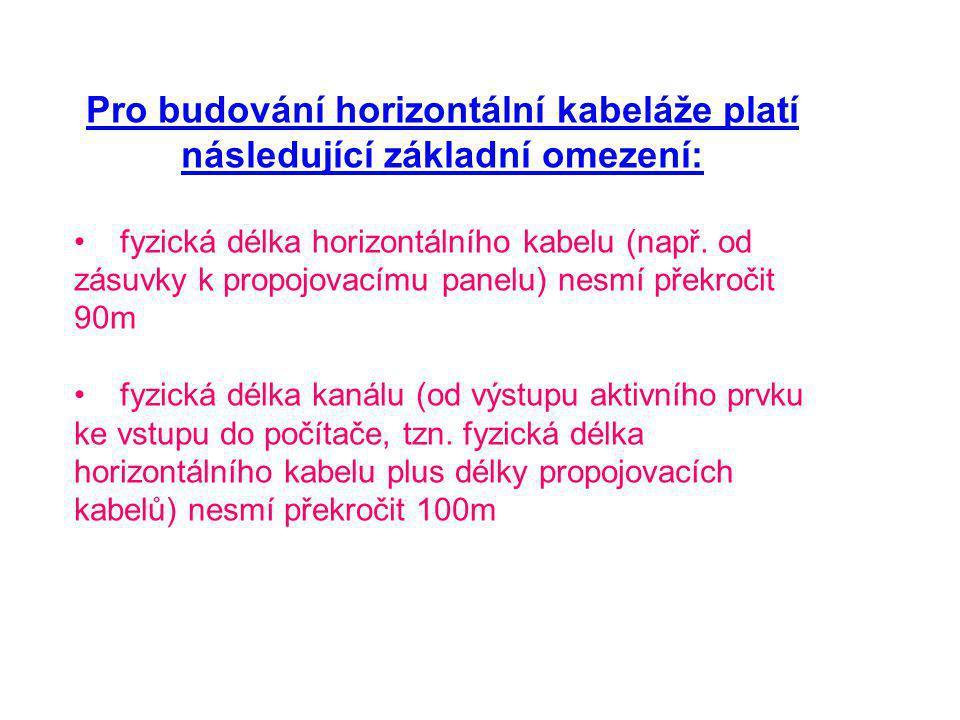Pro budování horizontální kabeláže platí následující základní omezení: fyzická délka horizontálního kabelu (např.