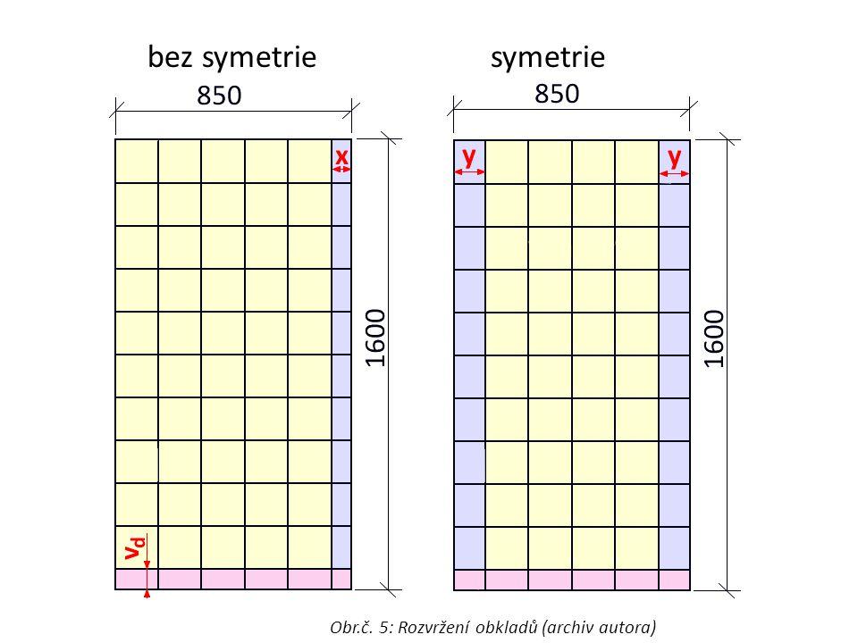 bez symetriesymetrie Obr.č. 5: Rozvržení obkladů (archiv autora)
