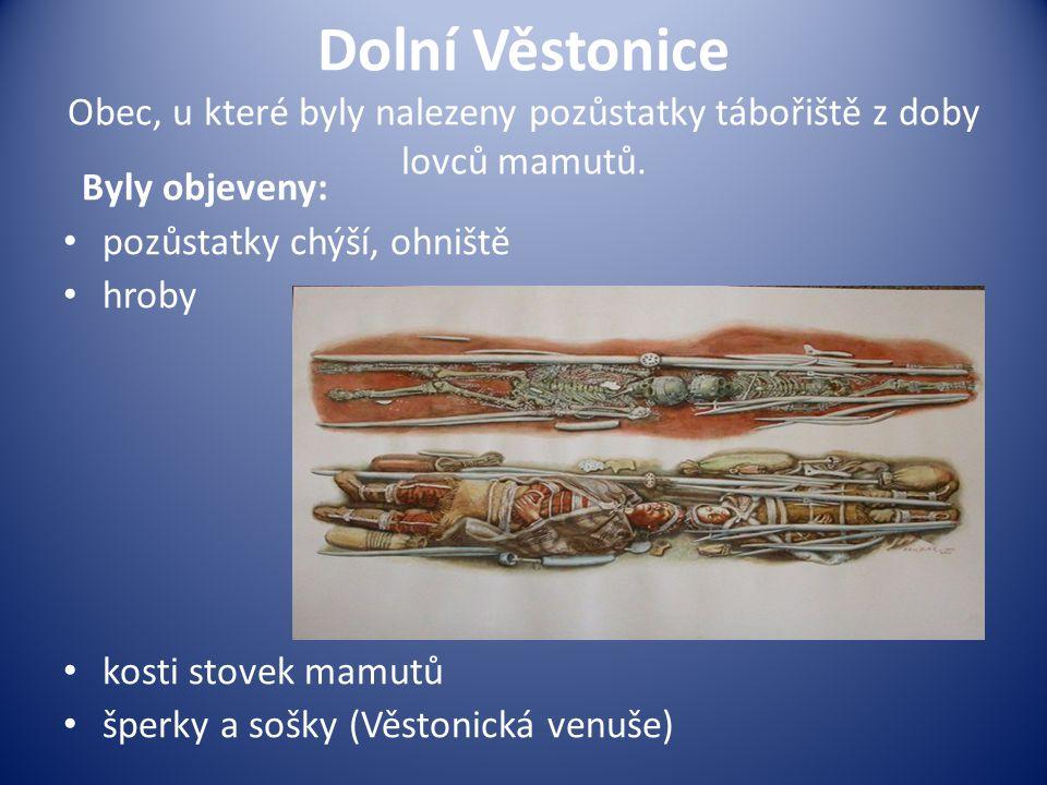Dolní Věstonice Obec, u které byly nalezeny pozůstatky tábořiště z doby lovců mamutů. Byly objeveny: pozůstatky chýší, ohniště hroby kosti stovek mamu