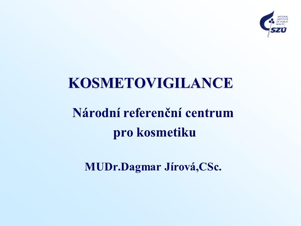 KOSMETOVIGILANCE Národní referenční centrum pro kosmetiku MUDr.Dagmar Jírová,CSc.