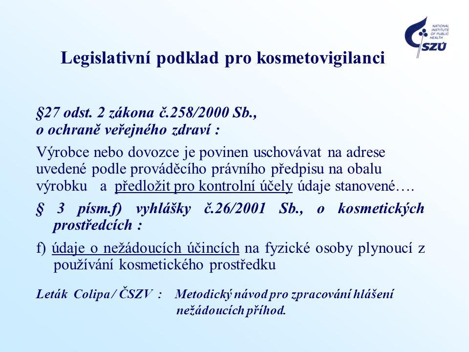 Legislativní podklad pro kosmetovigilanci §27 odst. 2 zákona č.258/2000 Sb., o ochraně veřejného zdraví : Výrobce nebo dovozce je povinen uschovávat n