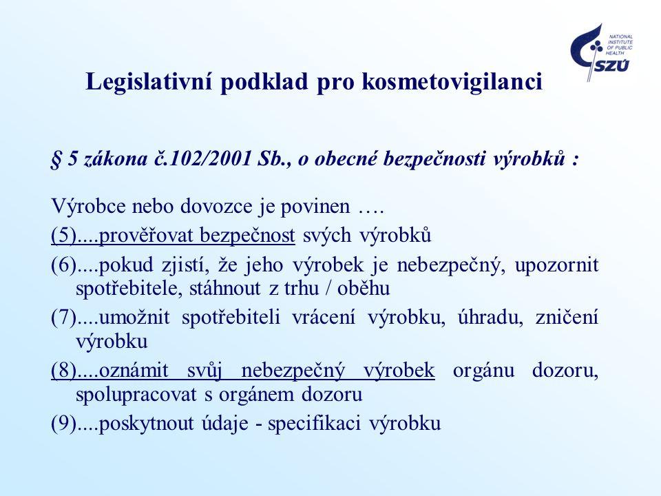 Legislativní podklad pro kosmetovigilanci § 5 zákona č.102/2001 Sb., o obecné bezpečnosti výrobků : Výrobce nebo dovozce je povinen ….