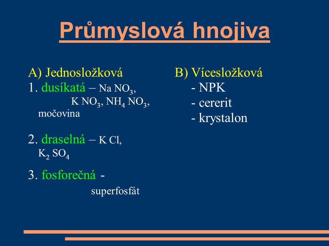 Průmyslová hnojiva A) Jednosložková 1.dusíkatá – Na NO 3, K NO 3, NH 4 NO 3, močovina 2.