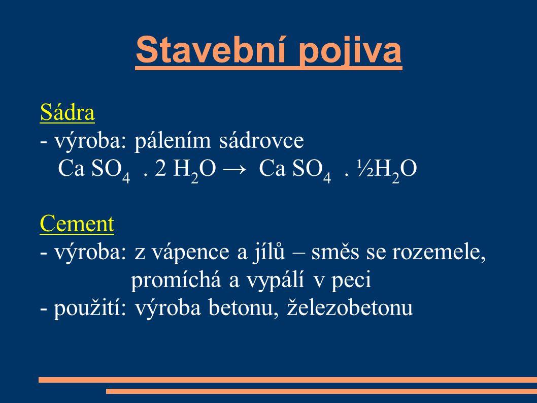 Stavební pojiva Sádra - výroba: pálením sádrovce Ca SO 4.