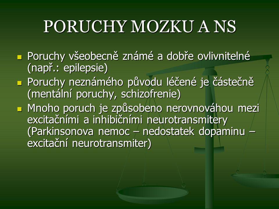 PORUCHY MOZKU A NS Poruchy všeobecně známé a dobře ovlivnitelné (např.: epilepsie) Poruchy všeobecně známé a dobře ovlivnitelné (např.: epilepsie) Por