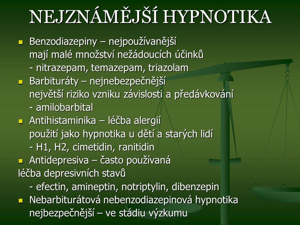 NEJZNÁMĚJŠÍ HYPNOTIKA Benzodiazepiny – nejpoužívanější Benzodiazepiny – nejpoužívanější mají malé množství nežádoucích účinků - nitrazepam, temazepam,