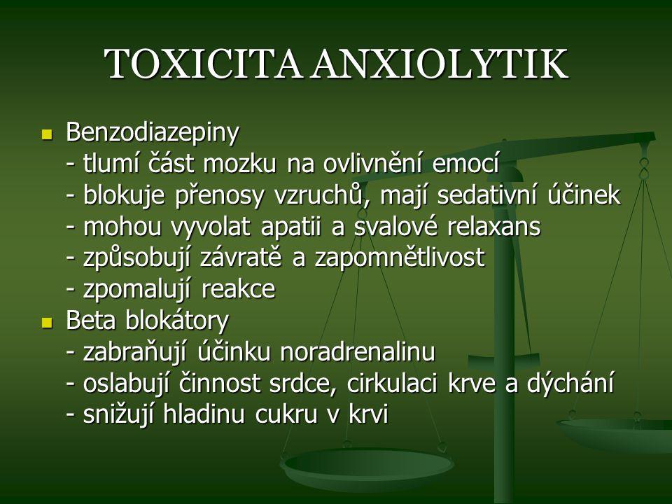 TOXICITA ANXIOLYTIK Benzodiazepiny Benzodiazepiny - tlumí část mozku na ovlivnění emocí - blokuje přenosy vzruchů, mají sedativní účinek - mohou vyvol