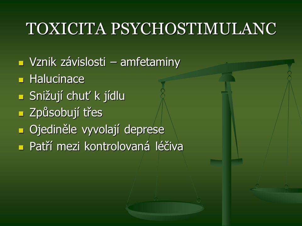 TOXICITA PSYCHOSTIMULANC Vznik závislosti – amfetaminy Vznik závislosti – amfetaminy Halucinace Halucinace Snižují chuť k jídlu Snižují chuť k jídlu Z