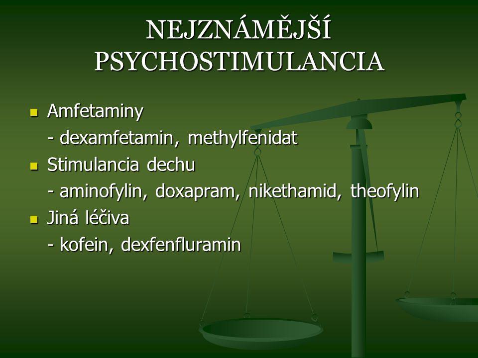 NEJZNÁMĚJŠÍ PSYCHOSTIMULANCIA Amfetaminy Amfetaminy - dexamfetamin, methylfenidat Stimulancia dechu Stimulancia dechu - aminofylin, doxapram, niketham