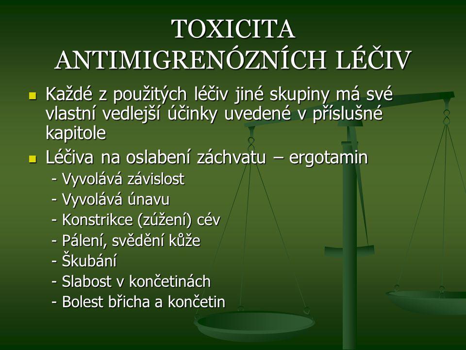 TOXICITA ANTIMIGRENÓZNÍCH LÉČIV Každé z použitých léčiv jiné skupiny má své vlastní vedlejší účinky uvedené v příslušné kapitole Každé z použitých léč