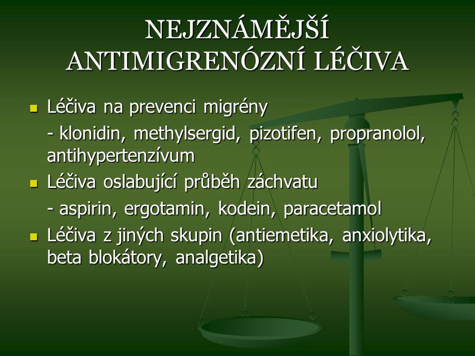 NEJZNÁMĚJŠÍ ANTIMIGRENÓZNÍ LÉČIVA Léčiva na prevenci migrény Léčiva na prevenci migrény - klonidin, methylsergid, pizotifen, propranolol, antihyperten