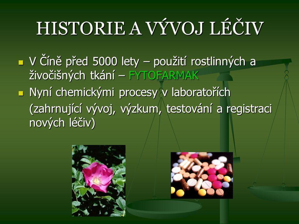 HISTORIE A VÝVOJ LÉČIV V Číně před 5000 lety – použití rostlinných a živočišných tkání – FYTOFARMAK V Číně před 5000 lety – použití rostlinných a živo