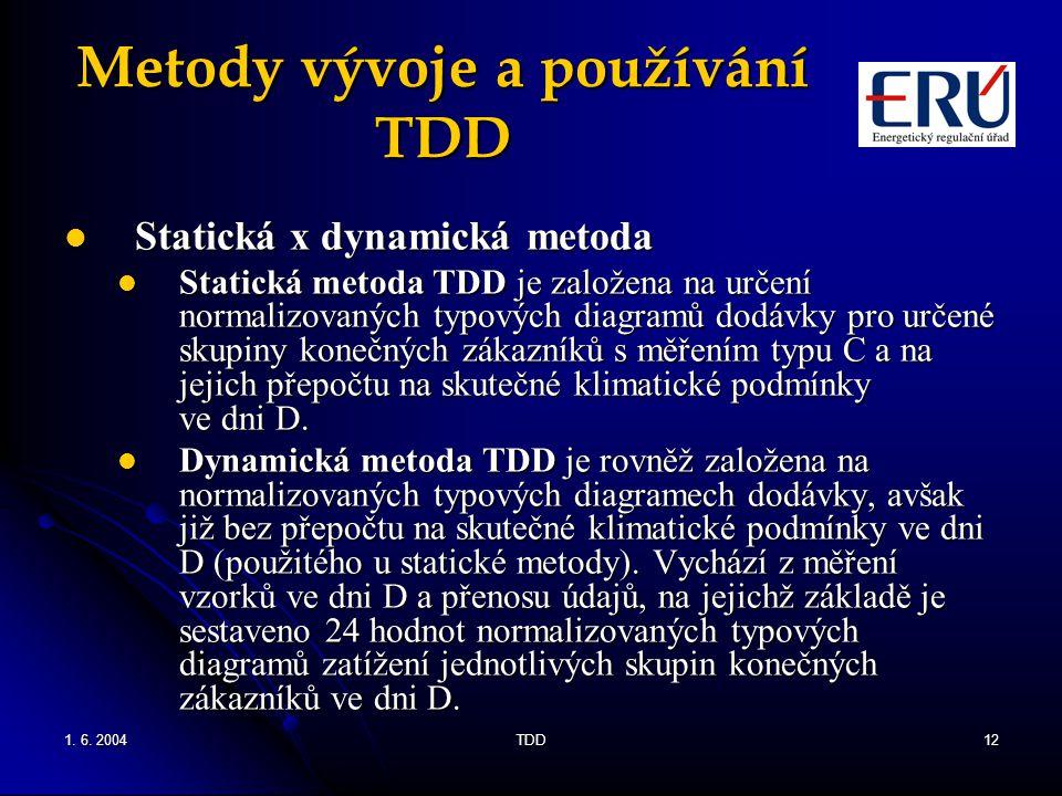 1. 6. 2004TDD12 Metody vývoje a používání TDD Statická x dynamická metoda Statická x dynamická metoda Statická metoda TDD je založena na určení normal