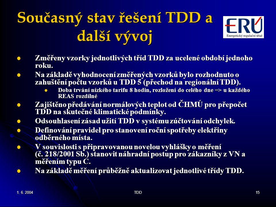 1. 6. 2004TDD15 Současný stav řešení TDD a další vývoj Změřeny vzorky jednotlivých tříd TDD za ucelené období jednoho roku. Změřeny vzorky jednotlivýc