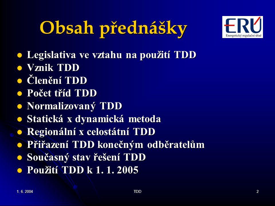 1. 6. 2004TDD2 Obsah přednášky Legislativa ve vztahu na použití TDD Legislativa ve vztahu na použití TDD Vznik TDD Vznik TDD Členění TDD Členění TDD P