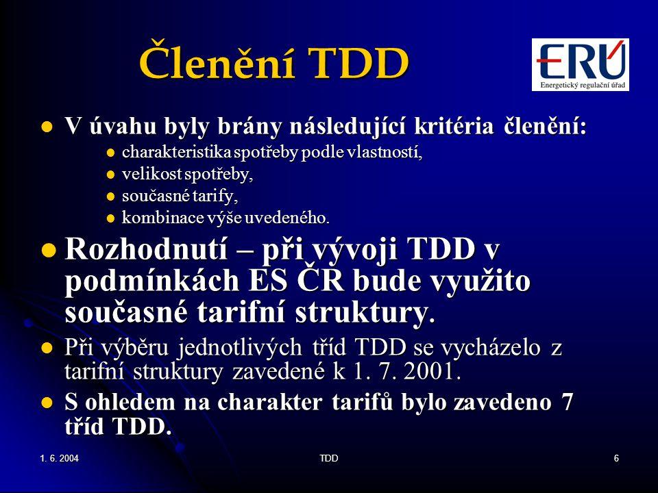 1. 6. 2004TDD6 Členění TDD V úvahu byly brány následující kritéria členění: V úvahu byly brány následující kritéria členění: charakteristika spotřeby