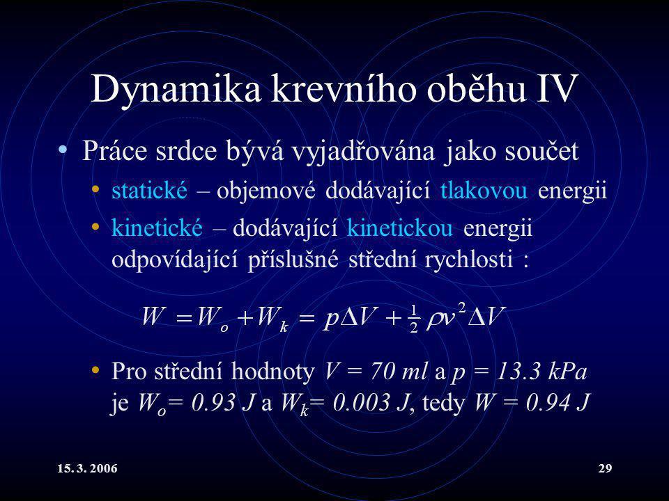 15. 3. 200629 Dynamika krevního oběhu IV Práce srdce bývá vyjadřována jako součet statické – objemové dodávající tlakovou energii kinetické – dodávají
