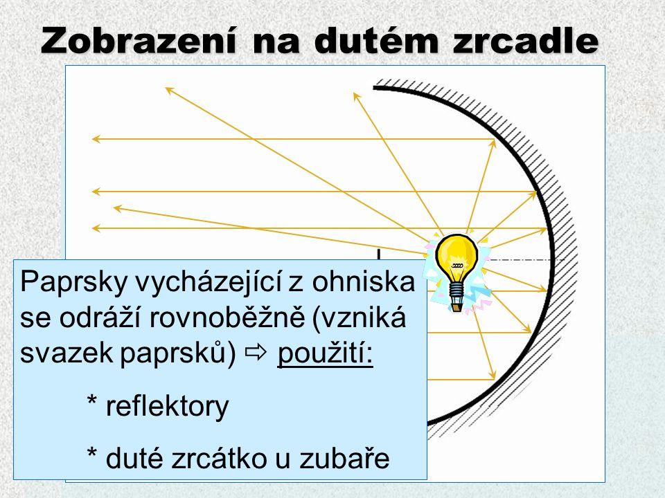 Zobrazení na dutém zrcadle Rovnoběžný svazek paprsků se odráží do jednoho bodu - ohniska  použití: * antény * využití solární energie (zrcadla soustředí energii do jednoho místa)