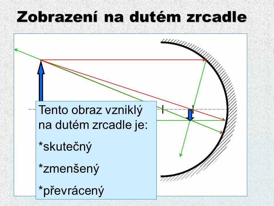 Zobrazení na dutém zrcadle Paprsky vycházející z ohniska se odráží rovnoběžně (vzniká svazek paprsků)  použití: * reflektory * duté zrcátko u zubaře